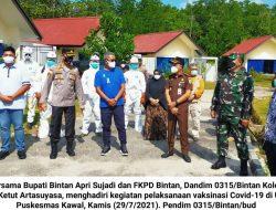 Kolonel Ketut Arta dan FKPD Bintan Tinjau Pelaksanaan Vaksinasi dan Pembagian Beras PKH serta BST