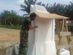 Memasuki Finishing, Pembangunan Tugu Prasasti TMMD Kodim Sarko